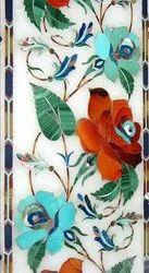 Floral Print Marble Inlay Flooring