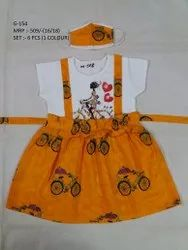 New Fashionable Fancy Design Frock With Mask For Girls