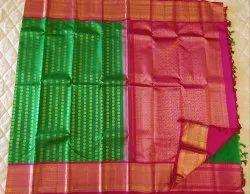 Pink & Green Color Silk Saree