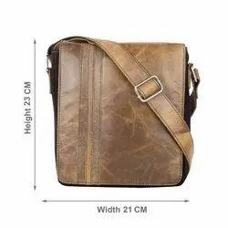 Unisex Brown Men Crunch Leather Cross Bag