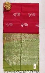 Maroon & Olive Colors Silk Saree