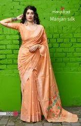 Light Orange Silk Saree
