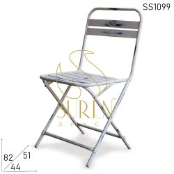 White Iron Folding Chair, For Restaurant