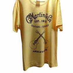 Yellow Cotton Mens Round Neck Dry Fit T Shirt, Size: S-XL