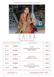 VARSHA FASHION ZAIRA PASHMINA PRINTED WITH EMBROIDERY LOOKING CLASSY SALWAR SUITS