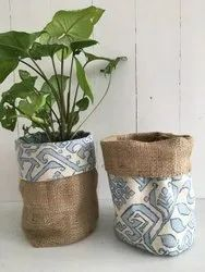 Cylindrical Brown jute planter bag, For keeping pots, Size: 12*12