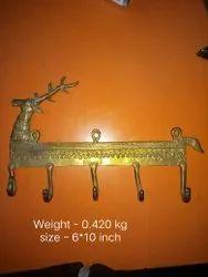 Golden Brass Wall Hook, Number Of Hooks: 6