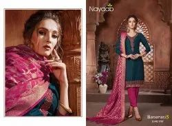Nayaab G.Blue Kurta With Bright Pink Bottom And Banarasi Dupatta