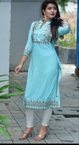 Designer Sky Blue Rayon Embroidered Kurti