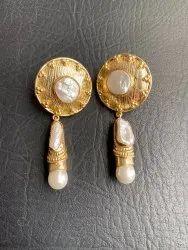 Baroque Pearl Earrings, Original Pearls, Handmade Brass Earrings, Gold Plated Pearl Earrings