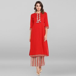 Janasya Women's Red Rayon Kurta With Palazzo(SET143)
