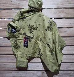 Green Stylish Mens Wear Cotton Floral Printed Shirt, Size: M-xxl