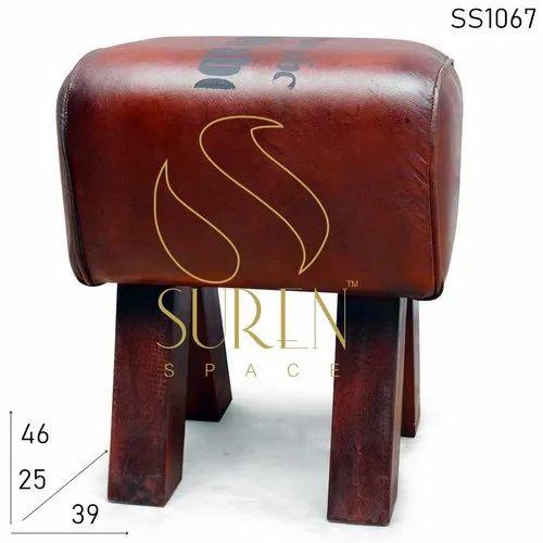 Cafe Leather Poofer Design Footstool