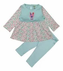 VERY STYLISH ROUND NECK DESIGN FULL SLEEVE FROCK & PANT SET FOR GIRLS
