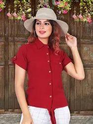 Jacquard Plain Women Fancy Shirt, Size: Free Size, Casual