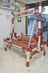 Sankheda Handicraft Red & Golden Wooden Swing With Stand