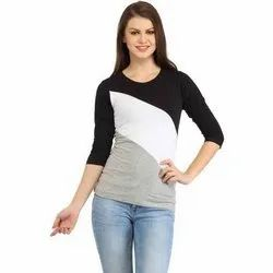 Black, White And Grey Scos Lycra Round Neck Ladies T-Shirt