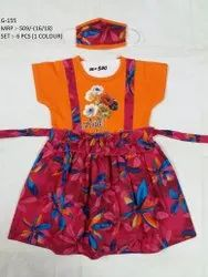 NEW FLOWER PRINTED LONG FROCK WITH MASK FOR GIRLS