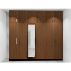 Brown Wooden Hinged Wardrobes (Wall Fixed), For Home