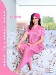 Female Pink Satin Patiyala Kavyansika Ladies Night Suits