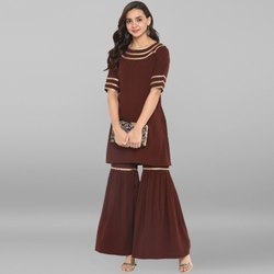 Janasya Women''''s Brown Poly Crepe Kurti With Sharara(SET072)
