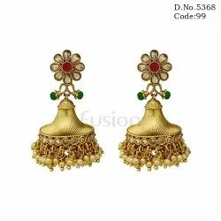 Traditional AD Stone Studded Pearl Jhumka Earrings