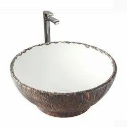 Table Top Wash Basin Brass Wood Matt