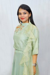 Cotton Embroidered Green Designer Dress, 25-35