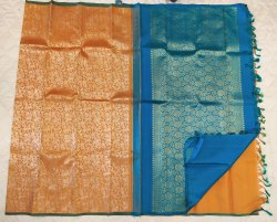 Apricot&Blue Combination Silk Saree
