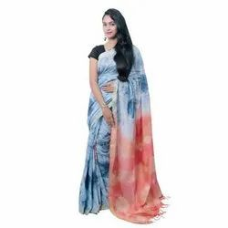 Party Wear Printed Artificial Silk Saree, With blouse piece, 6.4 Meter