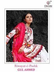 Jam Cotton Blue Riwayat E Pashk Gul Ahmed Charizma Designer Pakistani Dress Material