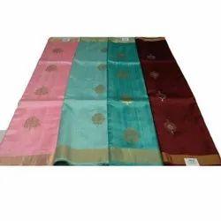 Party Wear Printed Ladies Banarasi Sarees, 5.5 m (separate blouse piece)
