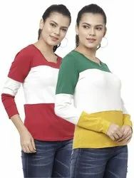 Women Cotton Lycra Long Sleeves Round Neck 3 Patch Regular Fit Tee T-shirts
