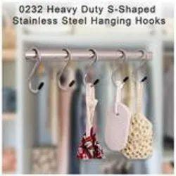 D0232_heavy Duty S-Shaped Stainless Steel Hanging Hooks - 5 Pcs