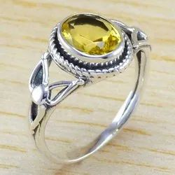 Beautiful 925 Sterling Silver Jewelry Citrine Gemstone Ring Wr-6292