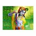 2 D Stickers Lord Krishna With Fluet & Calf Wall-stickers, Size: 12 X 18 Inches