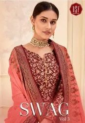 RSF Swag Vol-3 Silk Jacquard Palazzo Style Suits Catalog