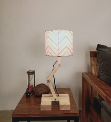 Symplify Interio Modern Contemporary Flex Beige Wooden Table Lamp, For Home