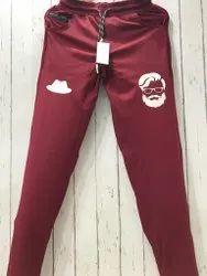 Casual Wear Men Maroon Printed Lycra Track Pant