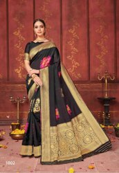 Black Designer Lichi Silk Saree