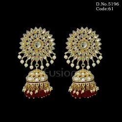 Kundan Pearl Indo Western Jhumka Earrings