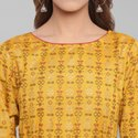 Janasya Women's Mustard Cotton Flex Ethnic Dress(J0016)