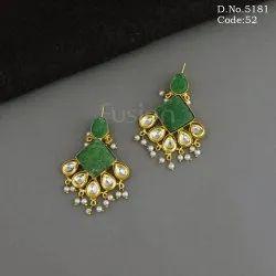 Indo Western Handmade Druzy Kundan Earrings