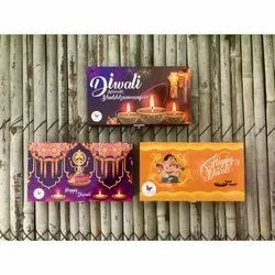 3 Assorted Designs Diwali Themed Chocolates In A Wooden Box