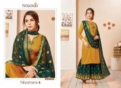 Nayaab Yoke Design Mustard Kurta With B.Green Sharara
