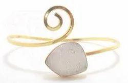 Gold Druzy Bangle Bracelet