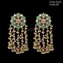 Copper Festive Ethnic Designer Pearl Meenakari Hanging Earrings