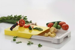 Plastic Chopping Bord, Clear Cutting Board With One Tray And Stainless Steel Knife (Multi Color)