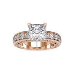 Princess Cut Full White Moissanite Ring White,Yellow,Rose Gold For Engagement, Wedding