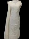 Kalakriti's Hand Embroidered Chikankari Chanderi Unstitched Dress Material For Woman.